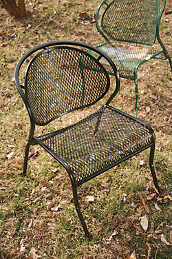 metal lawn chair after the restoration process is completed