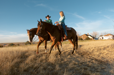 Zane and Logan Pluhar on their horses