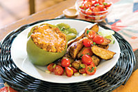 Spanish Stuffed Green Peppers & Spicy Potatoes With Tomato Salsa