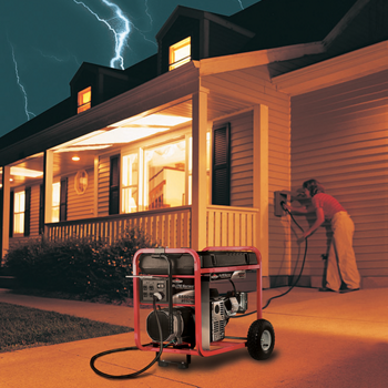 a portable generator in a driveway