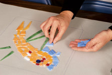 arranging the glass on paper