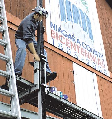 Scott operating the scaffold
