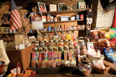 stock arranged on the store shelves, tables, and racks
