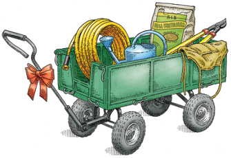 gift wagon with varied garden-related items inside