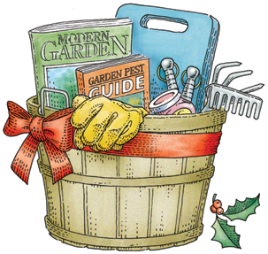 wooden basket with smaller gift ideas: books, gloves, tools