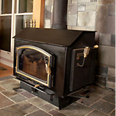 Wood burning stove in a home.