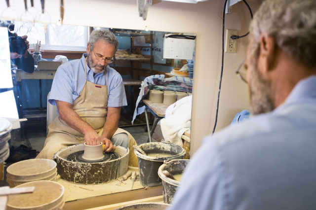 Bill working on a piece on the pottery wheel