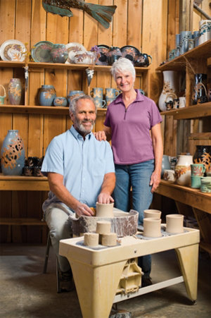 Bill and Judy in their studio