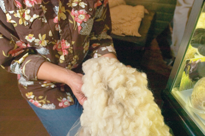 A sample of the raw wool from her sheep