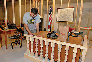 Dave working on the basement replica of the courthouse