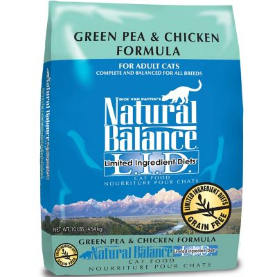 Natural Balance L.I.D. Limited Ingredient Diets Green Pea & Chicken Formula Dry Cat Food; 10 lb.