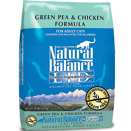 Natural Balance L.I.D. Limited Ingredient Diets Green Pea & Chicken Formula Dry Cat Food, 10 lb.