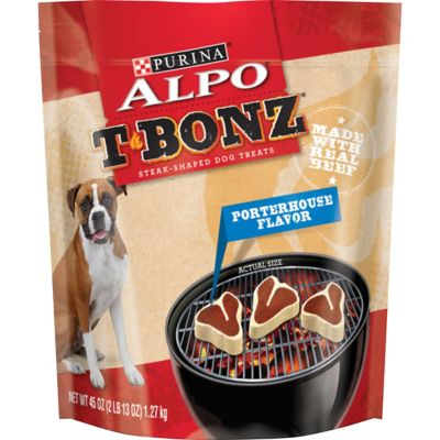ALPO T-Bonz Porterhouse Flavor Steak-Shaped Dog Treats; 45 oz. Bag