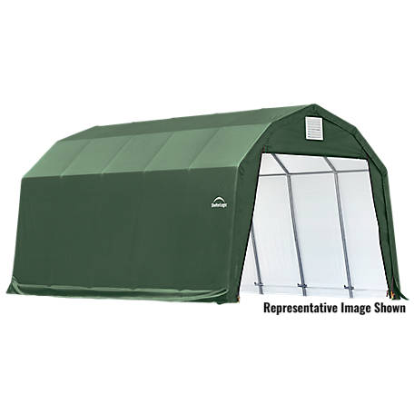 ShelterLogic Barn Style Shelter-Green, 12 ft. x 24 ft. x 9 ft.