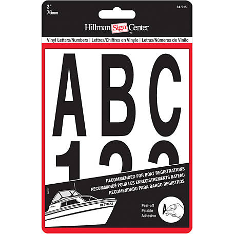 Hillman Vinyl Die Cut Black Packaged Letters and Numbers, 3 in.