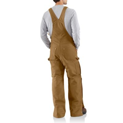 NWT Carhartt Mens Quilt Lined Zip To Thigh Bib Overalls R41 Black 34x32 $100