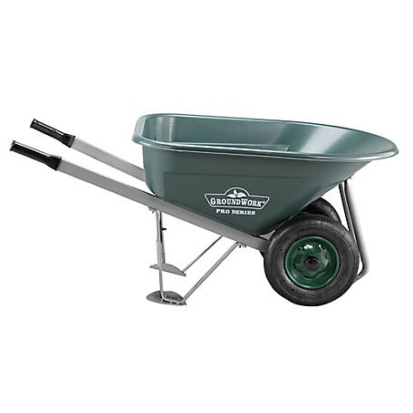 GroundWork Pro Poly Wheelbarrow, 8 cu. ft./600 lb. Capacity, WB8001P-1