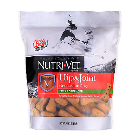 Nutri-Vet Hip & Joint Extra Strength Peanut Butter Biscuits for Large Dogs, 4 lb.