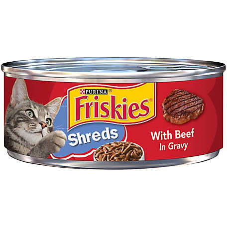 Purina Friskies Gravy Wet Cat Food, Shreds with Beef in Gravy, 5.5 oz. Can