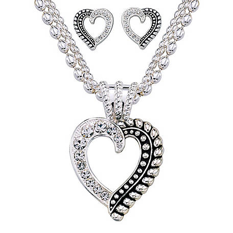Montana Silversmiths Twisted Rope and Crystal Heart Jewelry Set