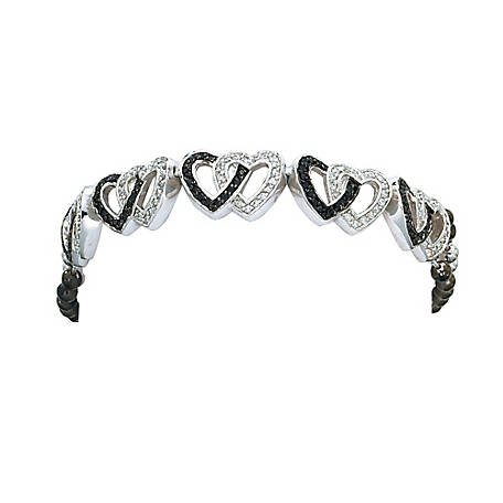 Montana Silversmiths Crystal and Black Double Heart Link Bracelet