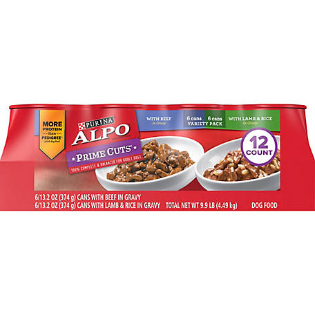 ALPO Purina ALPO Prime Cuts with Beef and Lamb & Rice in Gravy Adult Wet Dog Food Variety Pack - (12) 13.2 oz. Cans