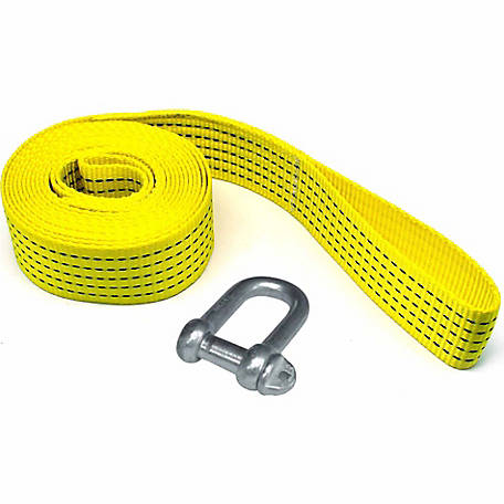 Traveller Winch Strap with Shackle, 2 in. x 12 ft., 3300 lb. Safe Work Load