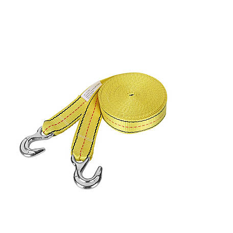 Traveller 2 in. x 30 ft. Yellow Tow Strap with Hooks, 3, 000 lb. Safe Work Load