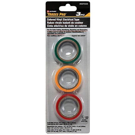 TradesPro Color Vinyl Electrical Tape, Pack of 3.