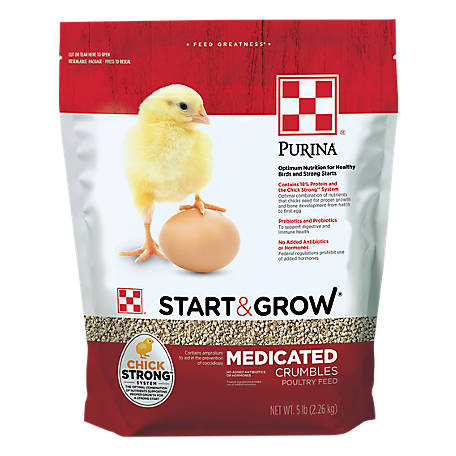 Purina Start & Grow Starter/Grower Medicated Feed Crumbles, 5 lb.