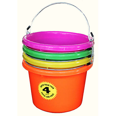 Fortiflex Neon Multipurpose Bucket, 2 gal. Capacity, Pack of 4