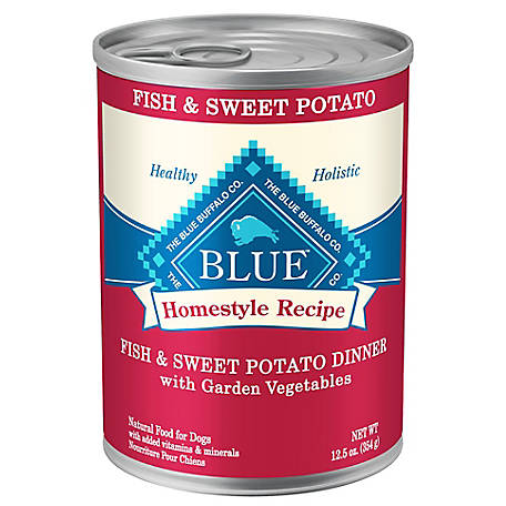 Blue Buffalo Blue Homestyle Recipe Fish and Sweet Potato Dinner with Garden Vegetables Wet Dog Food, 12.5 oz. Can