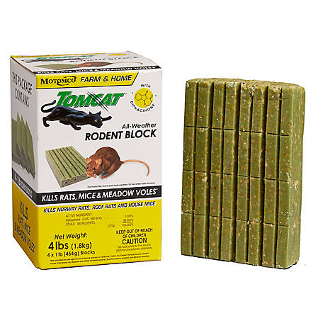Tomcat All-Weather Rodent Block Bait, 1 lb. Block, Pack of 4, 32465