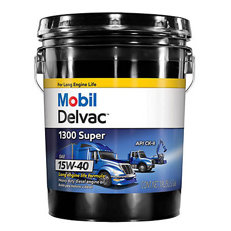 Mobil Delvac 1300 Super Heavy Duty Synthetic Blend Diesel Engine Oil 15W-40, 5 gal., 122491