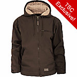 C.E. Schmidt Men's Washed Bark Duck Sherpa-Lined Hooded Jacket