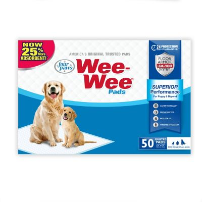 Four Paws Wee-Wee Quilted Dog Training Pads; Pack of 50