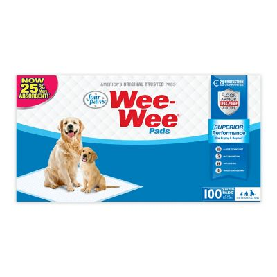 Four Paws Wee-Wee Quilted Dog Training Pads; Pack of 100