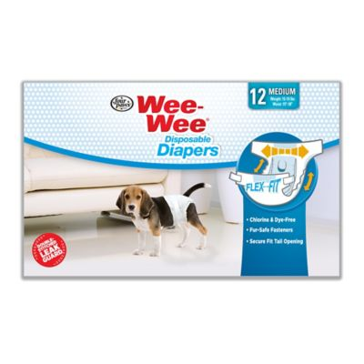 Four Paws Wee-Wee Dog Medium Disposable Diapers Medium; Pack of 12