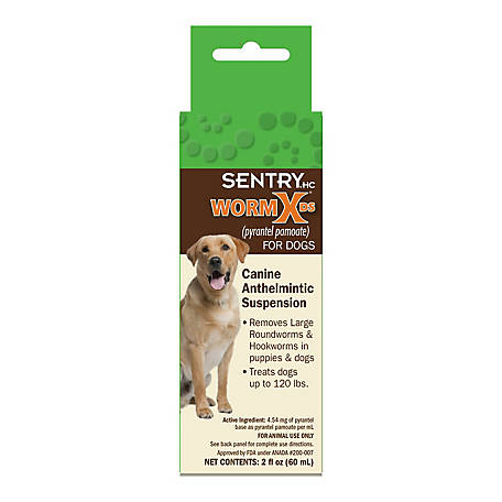 SENTRY HC WormX DS (pyrantel pamoate) Canine Anthelmintic Suspension for Dogs, 2 oz.