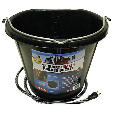 Farm Innovators 18 qt. Heated Flat-Back Rubber Bucket, FB-15R, FB-15R