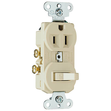 Pass & Seymour 1-Pole Toggle Switch/Outlet, Ivory
