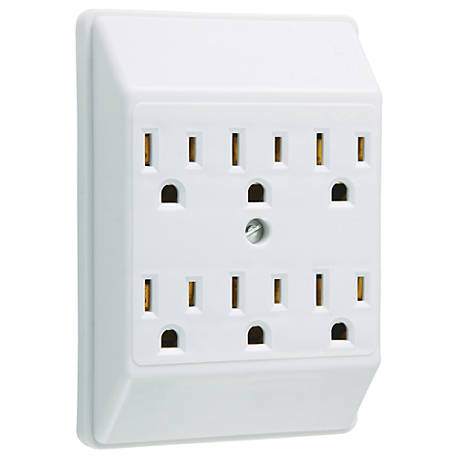 Pass & Seymour White Plug-In Adapter 2 to 6 Outlets, White