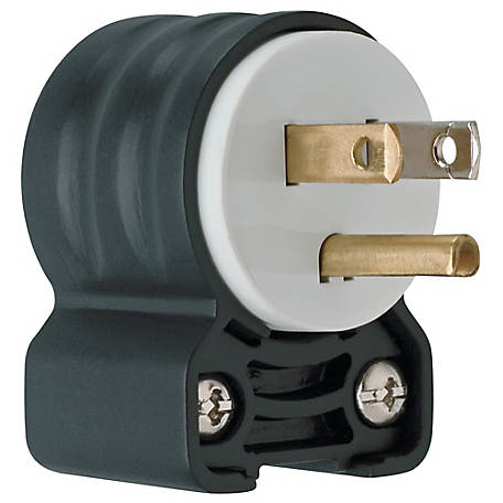 Pass & Seymour 15A Extra Hard Use Angled Plug, Black and White