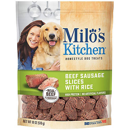 Milo's Kitchen Beef Sausage Slices with Rice Dog Treats, 18 oz.