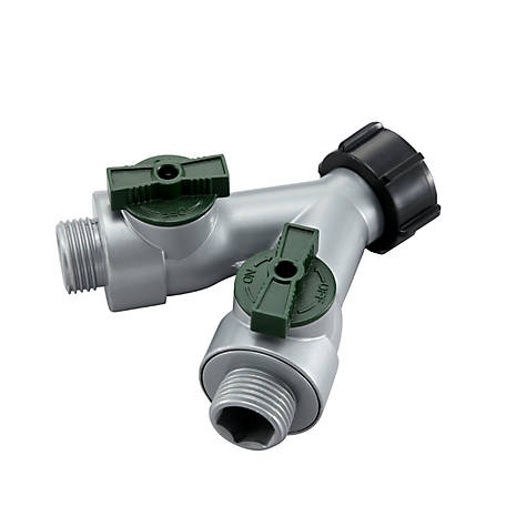 GroundWork Metal Dual Hose Connector with Shutoff, GC-633