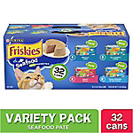 Friskies Seafood Wet Cat Food Variety Pack, 5.5 oz. Can, Pack of 32