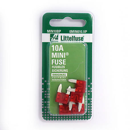 Littelfuse Mini 10A Blade Fuse, Pack of 5