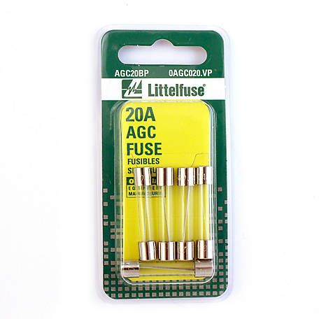 Littelfuse AGC Series 3AG 20A Fuse, Pack of 5