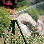 Orbit Brass Impact Sprinkler, Tripod Base