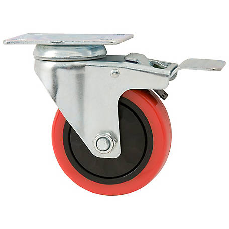 Waxman Titan Casters 4 in. Swivel with Brake Polyurethane Caster, 250 lb. Capacity, 4120755TD